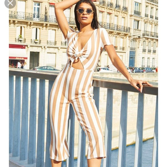 ea3dc8c0827 Pretty Little Thing Tan and White Jumpsuit. NWT. PrettyLittleThing